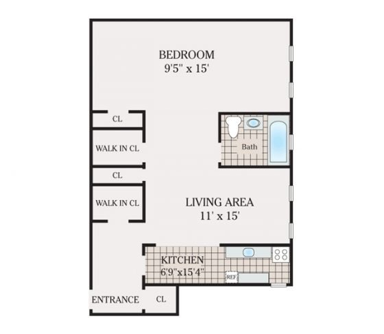 1 Bedroom 1 Bathroom. 560 sq. ft.