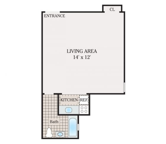 Studio 1 Bathroom. 435 sq. ft.