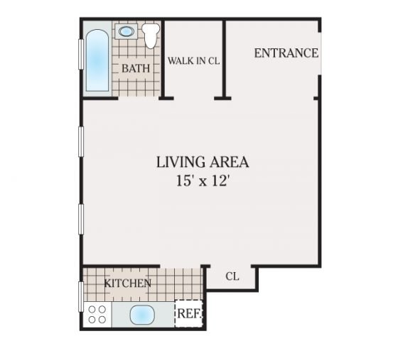 Studio 1 Bathroom. 485 sq. ft.